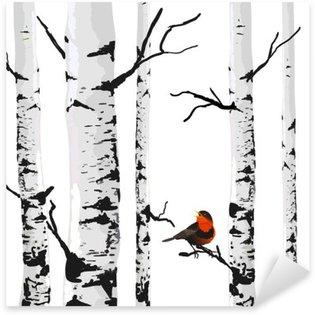 Koivun lintu, vektorigrafiikka muokattavilla elementeillä. Pixerstick Tarra