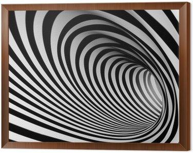 Tavla i Ram 3d abstrakt spiral bakgrund, vit och svart