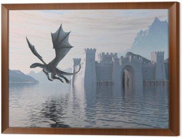 Tavla i Ram 3D Illustration av ett slott på vattnet och draken
