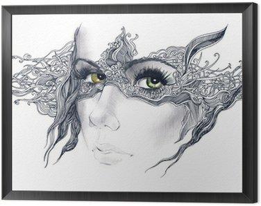 Tavla i Ram Abstrakt dekorerad kvinna ansikte