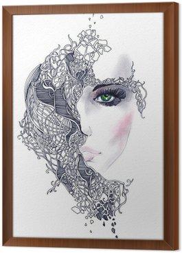 Tavla i Ram Abstrakt kvinna ansikte