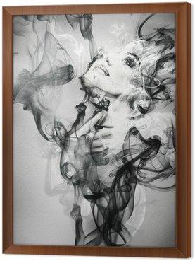 Tavla i Ram Abstrakt kvinna porträtt. akvarell illustration