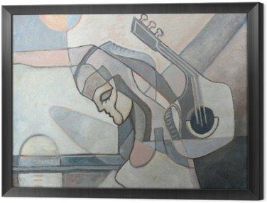 Tavla i Ram Abstrakt målning med kvinnan och gitarr