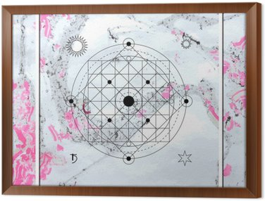 Tavla i Ram Abstrakt mystisk geometri, linjär alkemi, ockult, filosofiska tecken.