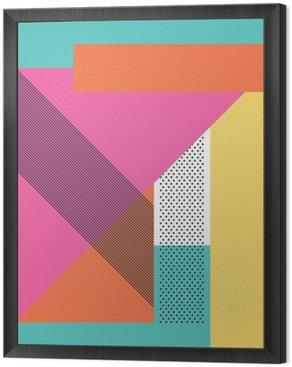 Tavla i Ram Abstrakt retro 80 bakgrund med geometriska former och mönster. Materialdesign tapet.