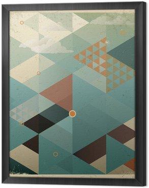 Tavla i Ram Abstrakt Retro geometrisk bakgrund med moln