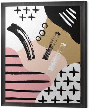 Tavla i Ram Abstrakt skandinavisk komposition i svart, vitt och pastellrosa.