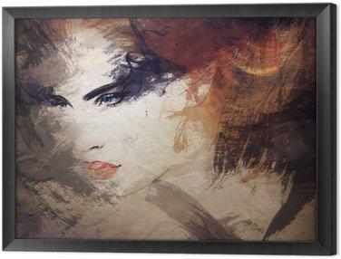 Tavla i Ram Abstrakt vattenfärg .woman porträtt