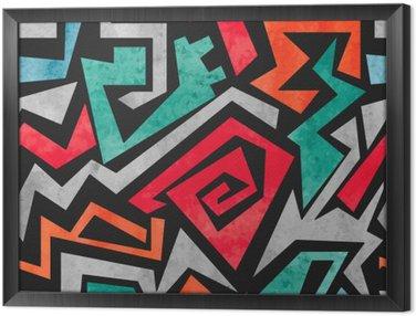 Tavla i Ram Akvarell graffiti seamless. Vektor färgrik geometrisk abstrakt bakgrund i rött, orange och blå färger.