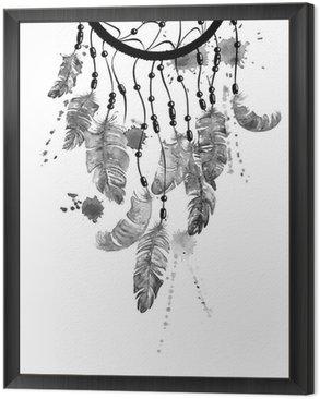 Tavla i Ram Akvarell illustration med dreamcatcher