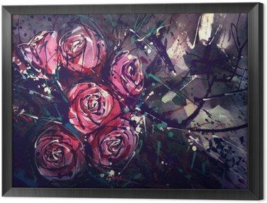 Tavla i Ram Akvarell målning stil rosor Abstrakt konst.