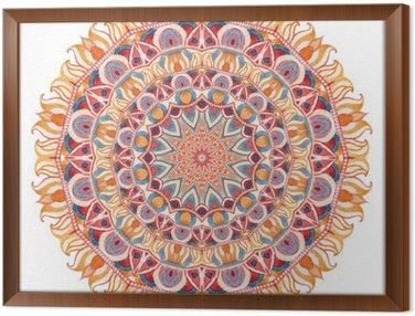 Tavla i Ram Akvarell mandala med sakral geometri. Utsmyckade spets isolerad på vit bakgrund.