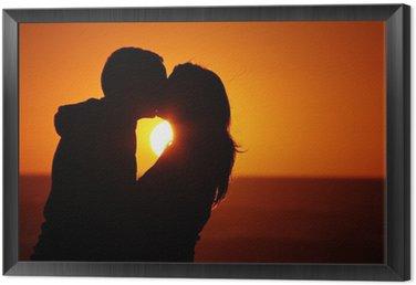 Tavla i Ram Älskande par strand solnedgång