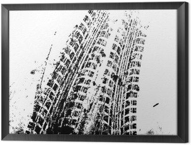 Tavla i Ram Bakgrund med grunge svart hjulspår, vektor