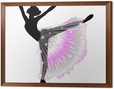 Tavla i Ram Ballerina Danza Classica-Classic Dance Dancer-vektor silhuett