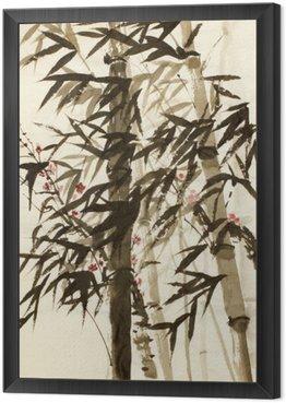 Tavla i Ram Bambu träd och plommon filial