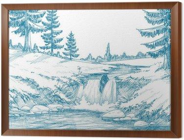Tavla i Ram Bergflod blyertsteckning
