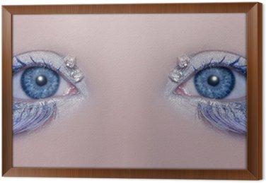 Tavla i Ram Blå ögon makro närbild vinter makeup juveler diamanter