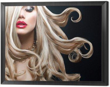Tavla i Ram Blont hår. Härlig sexig blond flicka