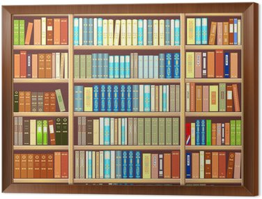 Tavla i Ram Bokhylla full av böcker