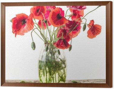 Tavla i Ram Bukett av vallmo blommor i vas på träbord.