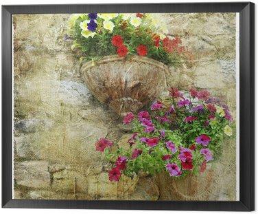 Tavla i Ram Charmiga blommiga gator - konstnärlig bild
