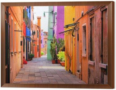 Tavla i Ram Colorful gata i Burano, nära Venedig, Italien