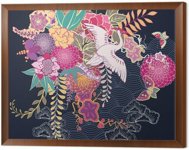 Tavla i Ram Dekorativa kimono blomstermotiv