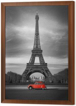 Tavla i Ram Eiffeltornet och röd bil-Paris