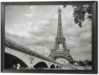 Tavla i Ram Eiffeltornet utsikt från floden Seine square format