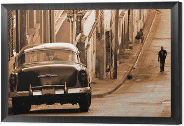 Tavla i Ram En klassisk bil på en gata, Kuba