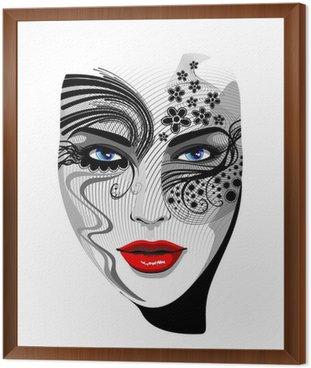 Tavla i Ram Face Mask Tattoo Girl Tattoo flicka porträtt-vektor