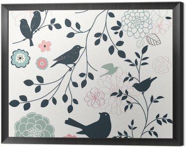 Tavla i Ram Fågel och blomma