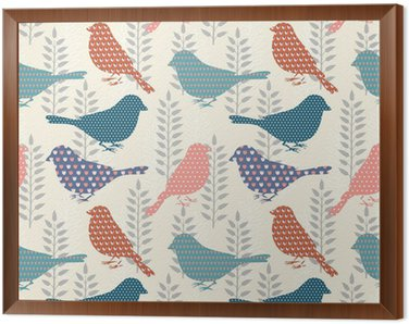 Tavla i Ram Fåglar sömlösa mönster