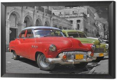 Tavla i Ram Färgglada Havanna bilar bild