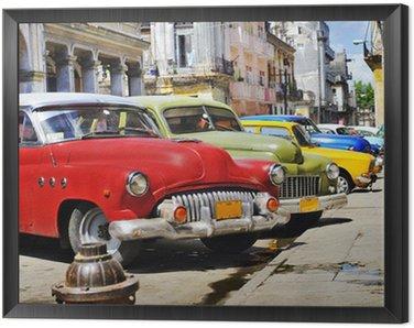 Tavla i Ram Färgglada Havanna bilar