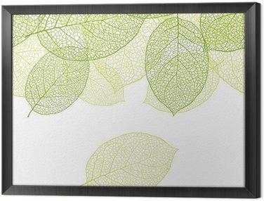 Tavla i Ram Färska gröna blad bakgrund - vektor illustration