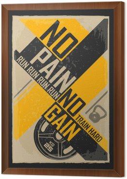 Tavla i Ram Fitness typografisk grunge affisch. Ingen smärta ingen vinst. Motiverande och inspirerande illustration.