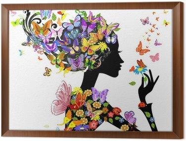 Tavla i Ram Flicka mode blommor med fjärilar
