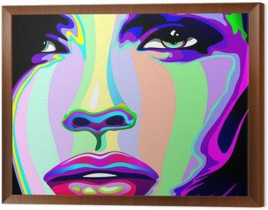 Tavla i Ram Flicka stående Psychedelic Psychedelic Rainbow-Face Girl