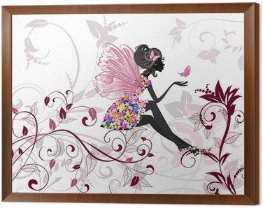 Tavla i Ram Flower Fairy med fjärilar