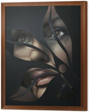 Tavla i Ram Formad porträtt av en vacker kvinna