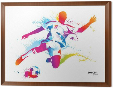 Tavla i Ram Fotbollsspelare sparkar bollen. Den färgglada vektor illustration