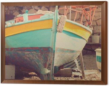 Tavla i Ram Gammal båt, abstrakt vintage bakgrund - intryck av Grekland