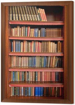 Tavla i Ram Gammal bokhylla med rader av böcker i gamla biblioteket