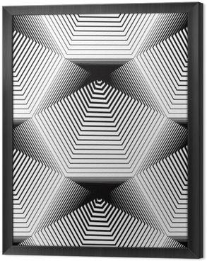 Tavla i Ram Geometrisk monokrom randiga seamless, svart och vitt ve