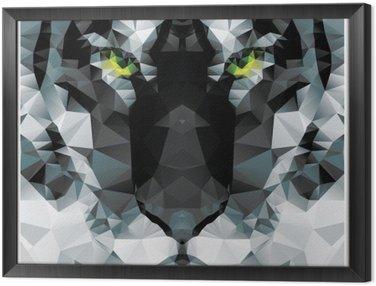 Tavla i Ram Geometriska polygon vit tiger huvud, triangel mönsterdesign