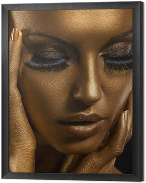 Tavla i Ram Gilt. Golden Kvinnans ansikte. Giled Make-up. Painted Skin