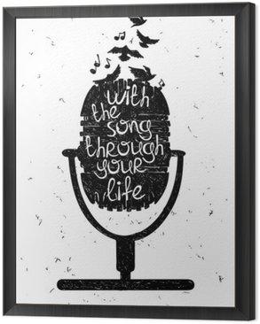 Tavla i Ram Handritad musikalisk illustration med silhuetten av mikrofonen.