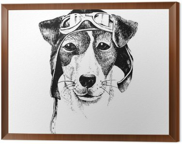Tavla i Ram Handritad utklädd hund flygare